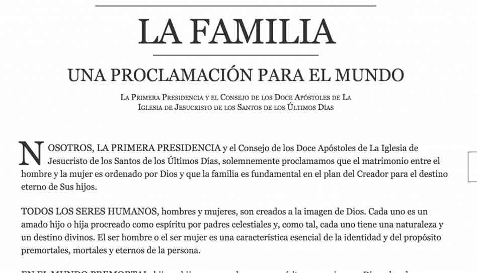 La Familia: Una Proclamación para el mundo cumple 20 años