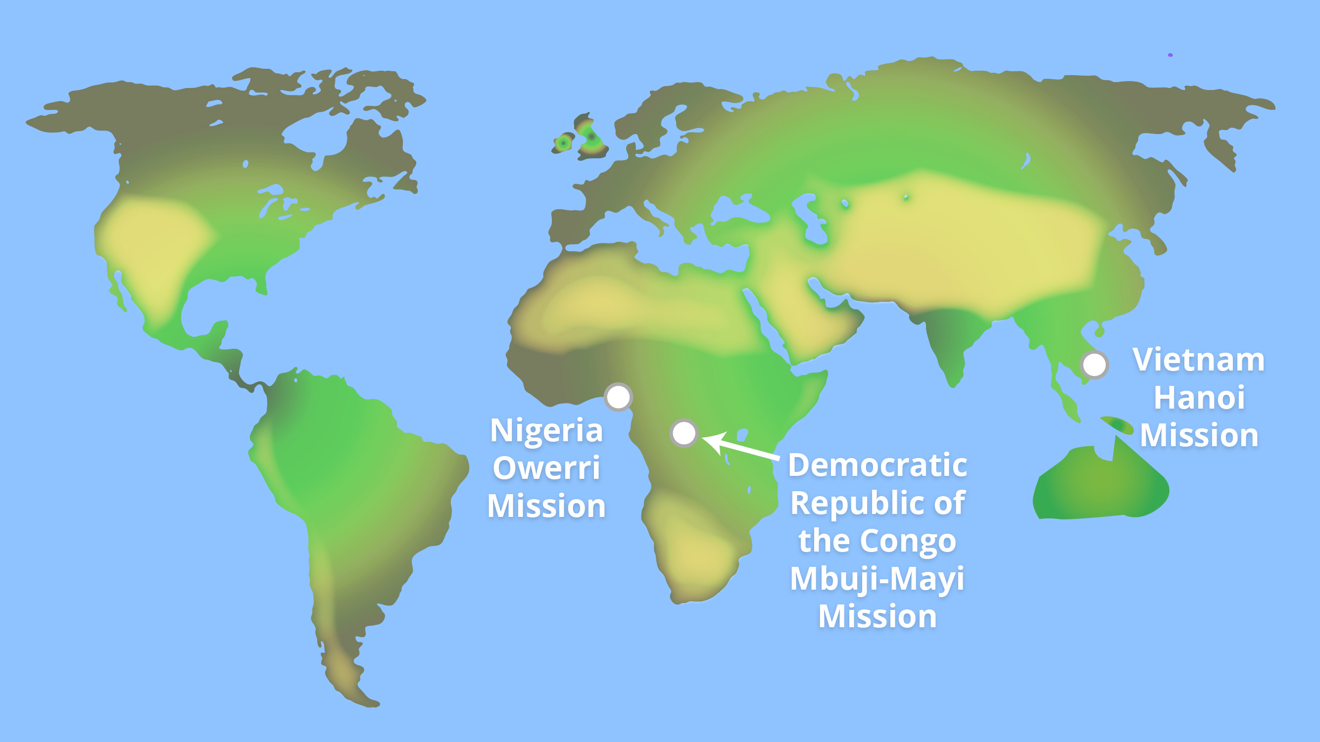 La iglesia anuncia 3 nuevas misiones en África y Asia