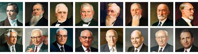 Rostros de los 16 presidentes de La Iglesia de Jesucuristo de los Santos de los Últimos Días