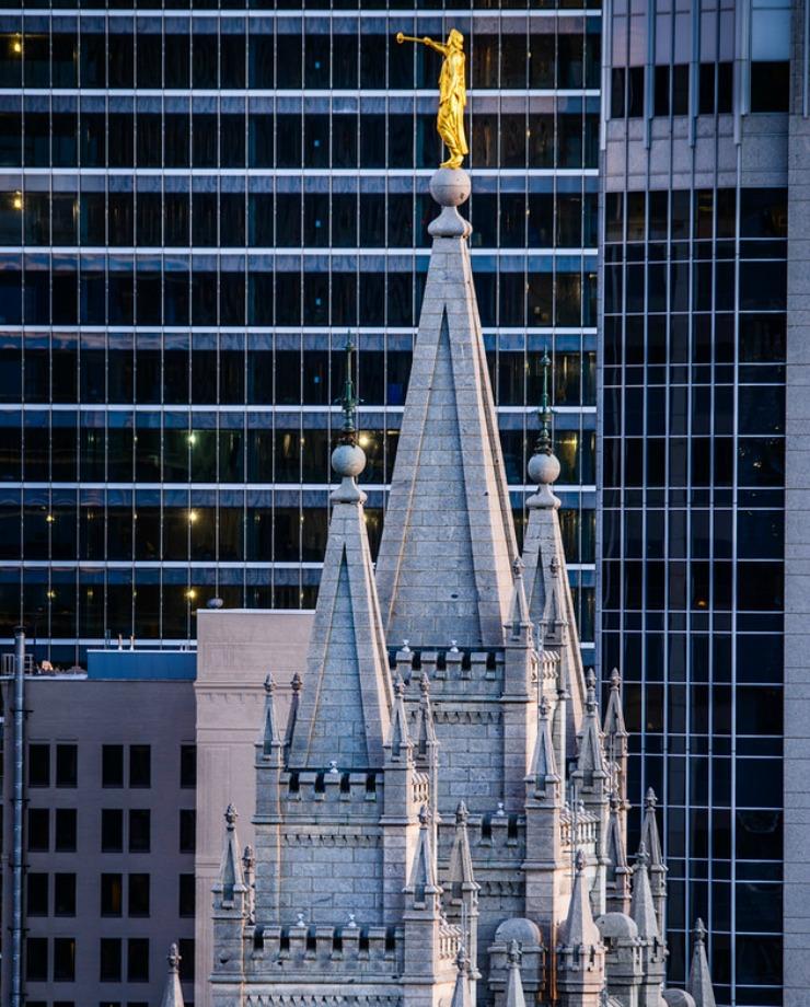 Agujas del Templo de Salt Lake City de La Iglesia de Jesucristo de los Santos de los Últimos Días.
