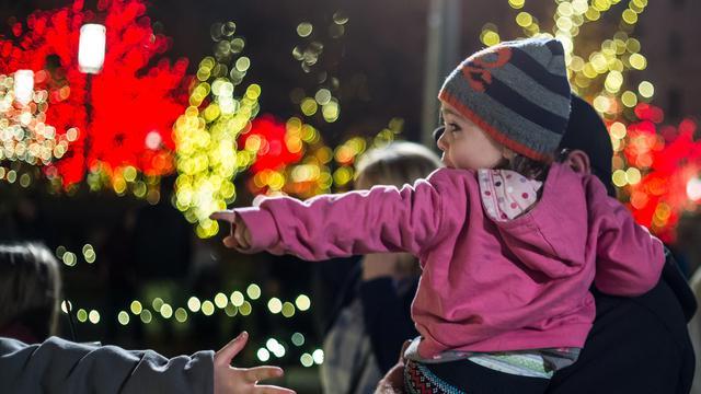 Templo de Salt Lake City con las luces de Navidad