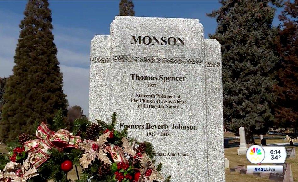 Monumento del presidente Monson, lápida lista en el cementerio de Salt Lake City