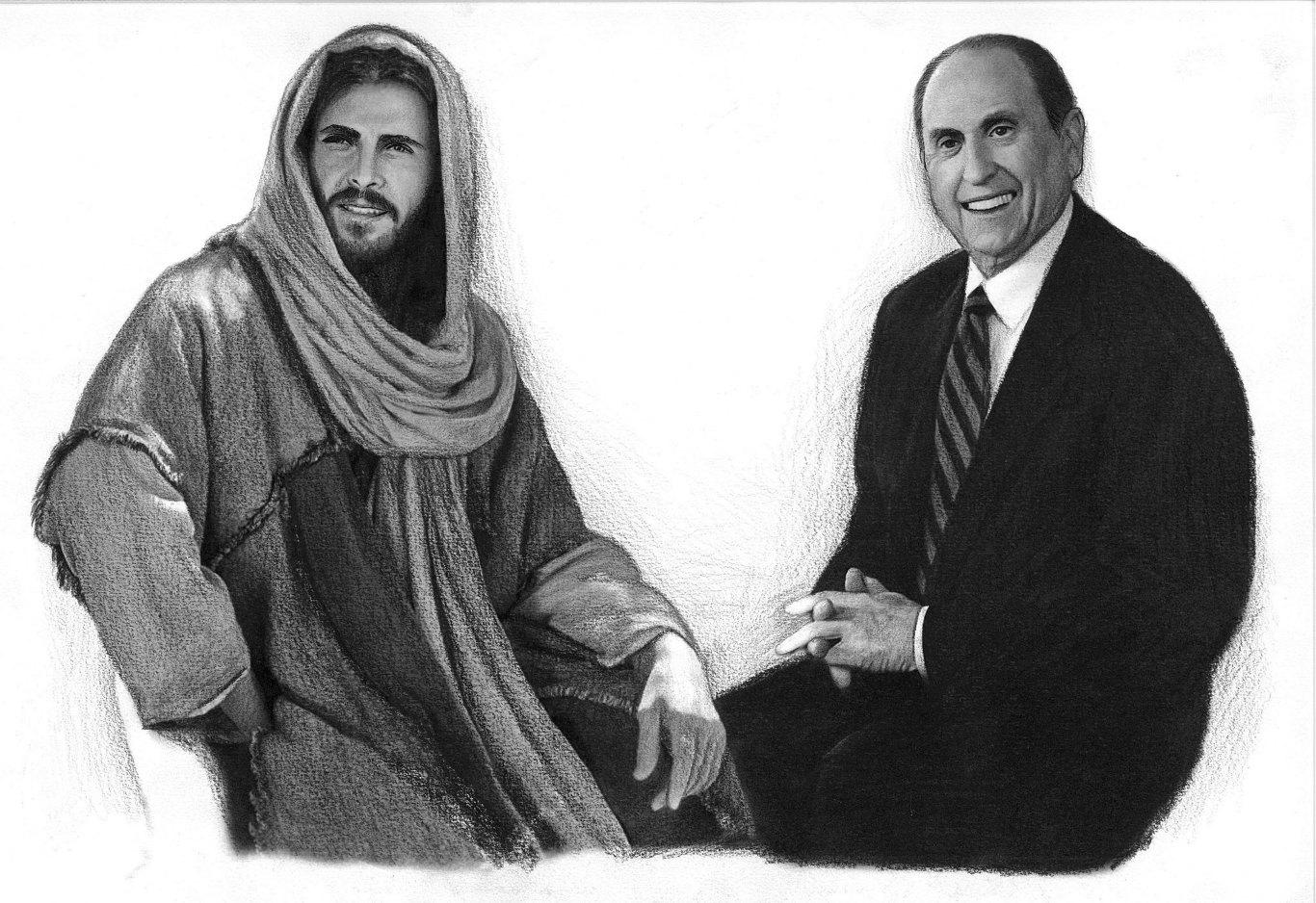 Jesucristo y Thomas S. Monson por Melvin lans