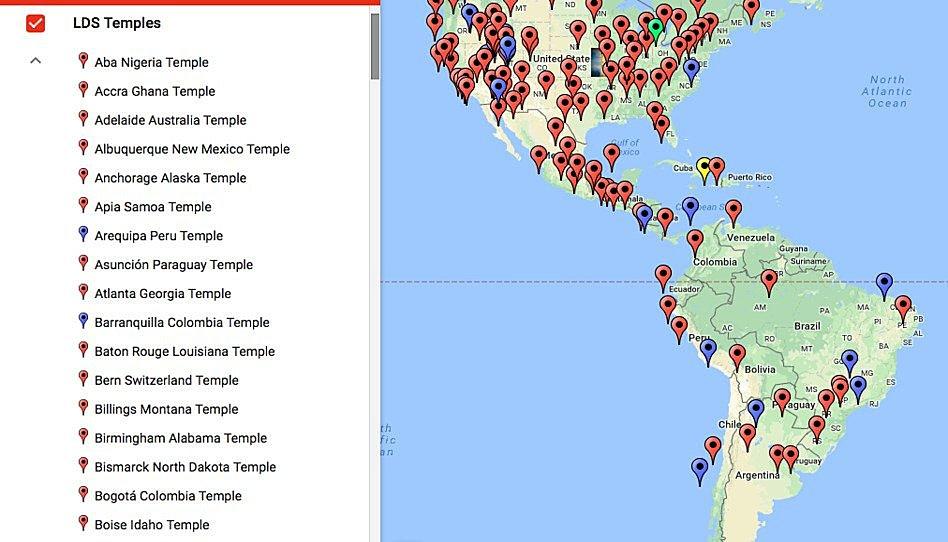 Mapa de los templos