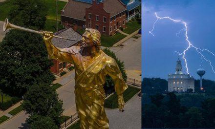 El Ángel Moroni del Templo de Nauvoo fue impactado por un rayo