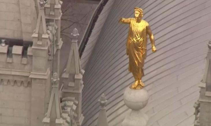 El fuerte sismo hace que el ángel Moroni del Templo de Salt Lake pierda su trompeta