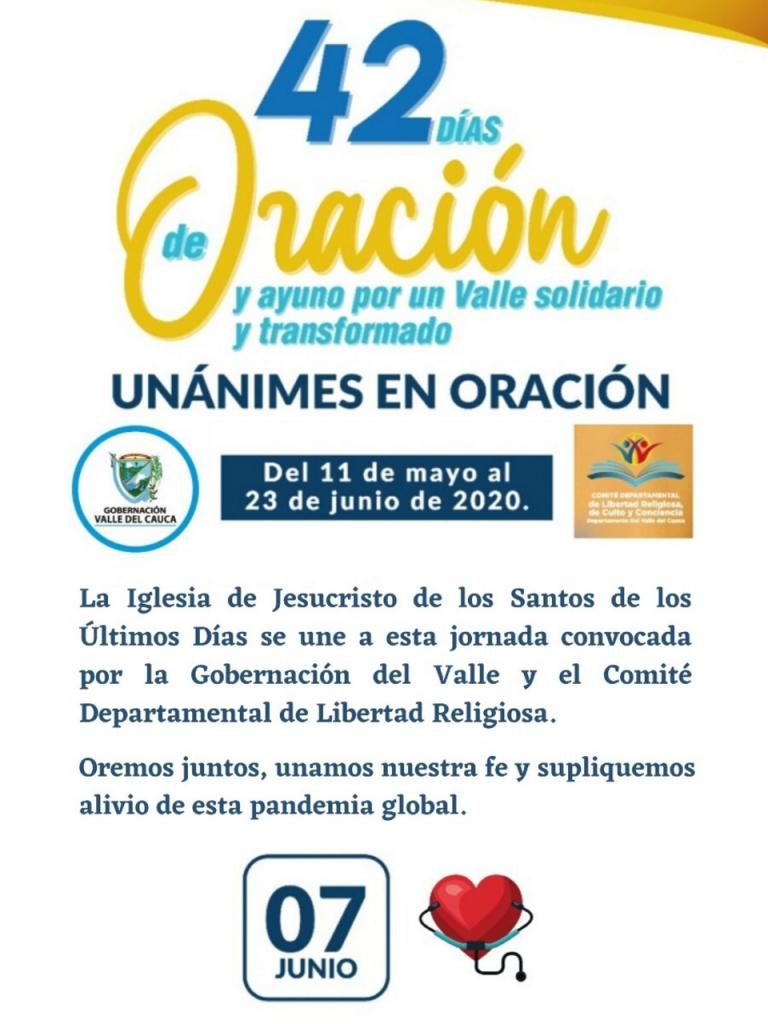 Hoy, domingo 7 de junio, La Iglesia de Jesucristo de los Santos de los Últimos Días en Colombia se une a la jornada de ayuno y oración.