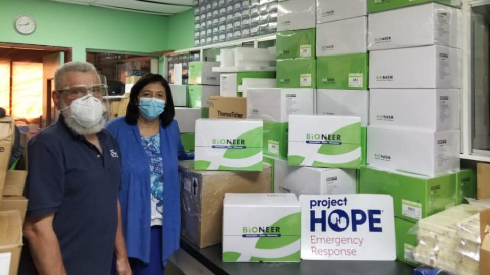 donación de pruebas COVID en Honduras